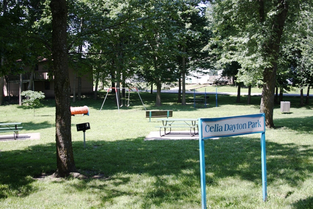 A picnic area in a wooded park